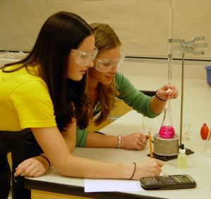 Students in the Lab with metric beaker