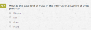 The second question in the quiz referenced the metric system