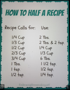 How to half ingredients using U.S. customary units